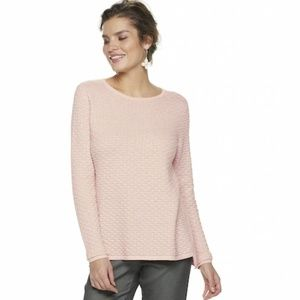 ELLE Textured Lurex Pink Sweater XXL